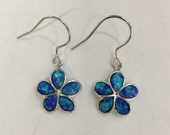 Sterling Silver blue opal Hawaii Plumeria flower dangling earrings