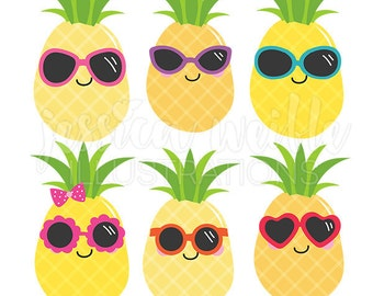 Cool Pineapples Cute Digital Clipart, Commercial Use OK, Pineapple Graphics, Summer Clip art, Summer Sunglasses clipart, tropical clipart