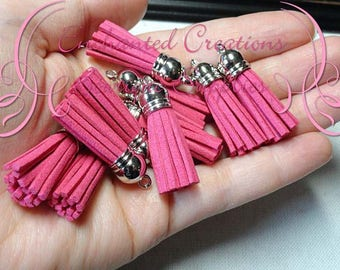 38mm Hot Pink Faux Suede Tassel Charms With Silver Top, Graduation Gift, End of School, DIY Keychain, Necklace, Bracelet, Earrings