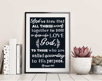 And we Know That All Things - Romans 8 vs 28 - Chalkboard Bible Verse - Christian Gift - Home Decor