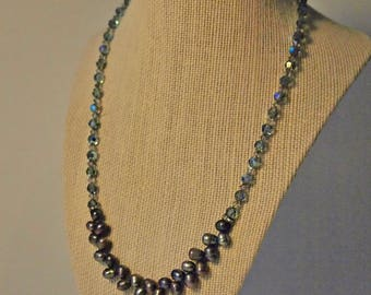 Grey Drops - Swarovksi Crystal with Fresh Water Black Pearl Necklace