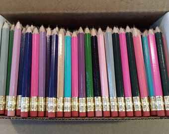 144 Assorted Mix of Mini short half Hexagon Golf #2 Pencils W/erasers Pre-Sharpened Made In the USA  Non Toxic Latex Free Express PencilsTM