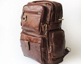 Genuine Cow Leather backpack / Briefcase / leather bag/  / Laptop bag / Men's leather Bag
