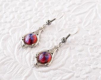 Mexican Opal Earrings, Dragon's Breath Earrings, Red Dangle Earrings, Art Nouveau Earrings, Downton Abbey Earrings, Great Gatsby Earrings