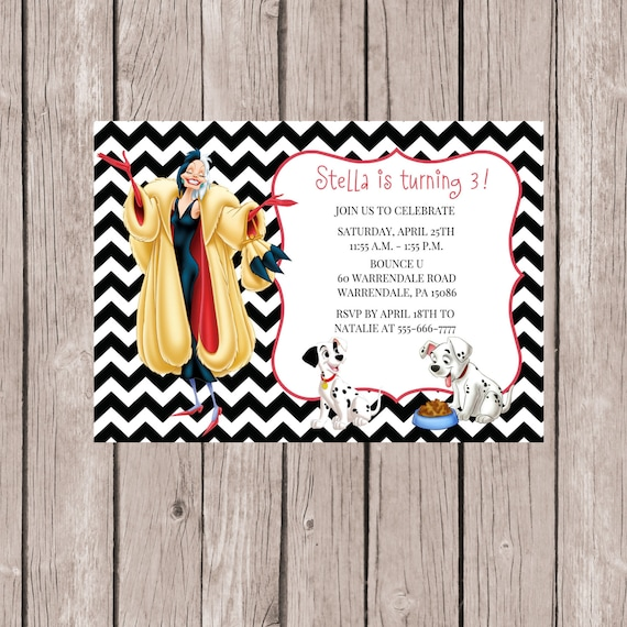 101 Dalmatians Invitation 101 Dalmatians Party Cuella de