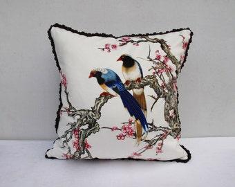 Flower Bird Pillowcase Flowers Pillow Birds Cushion Cover  Birds Sitting on The Branch Trim Pillow
