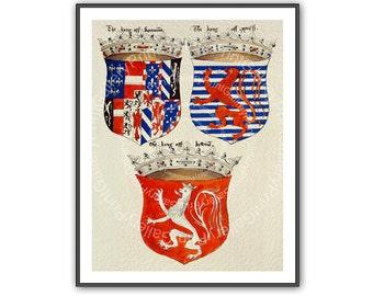 Man Cave Wall Art Decor Renaissance Coat of Arms Heraldry Prints Heraldic Shields European Medieval Crowns Crest Antique Maritime ap 163