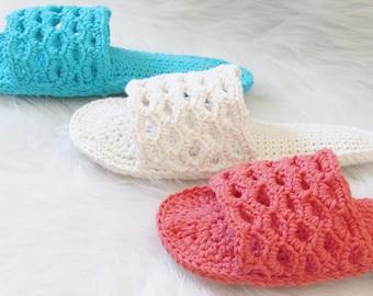 Crochet Slipper Pattern, Crochet Woman's Slipper Pattern, Crochet Woman's Sandals Pattern, Spa Day Slippers