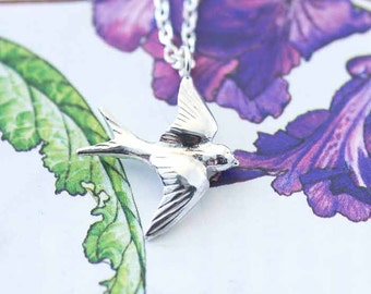 Swallow Necklace, bird jewellery, Silver necklace, Uk seller, swallow jewelry