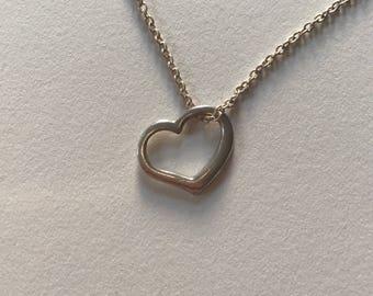 Vintage Petite Open Heart 925 Sterling Silver Pendant Necklace