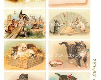 Digital Clipart, instant download, Vintage Cat and Kitten Images kitty tiger tabby calico--Digital Collage Sheet (8.5 by 11 inches)   689