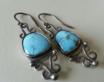 Turquoise Earrings in Sterling Silver Scrollwork