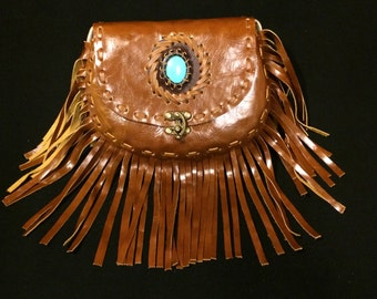 Leather Fringe Purse / Crossbody Bag / Shoulder Bag / Whipstitching / Stone Detail / Steampunk Swing Lock / Gift for Her