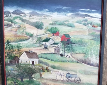 OIL PAINTING, country scene on gesso primed artist PANEL.