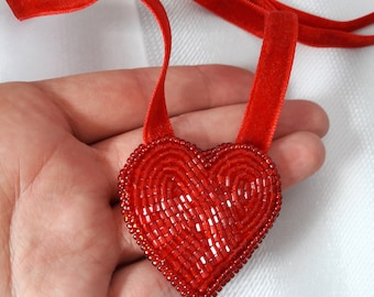 Embroidered heart pendant Embroidered heart necklace Tiny heart necklace Red everyday necklace Simple Cute necklace Bright red jewelry