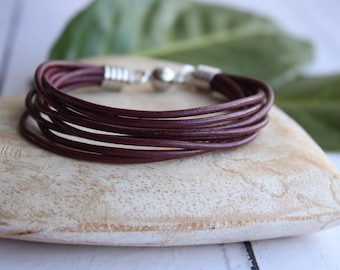 8 leather strand bracelet, leather cord, magnetic clasp, various colours available, ladies jewellery, gift idea