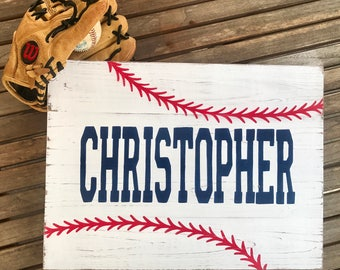 Made to order Baseball wood sign with name