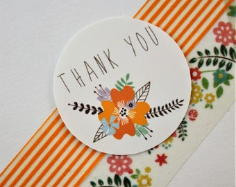 Thank You Fall Floral Stickers