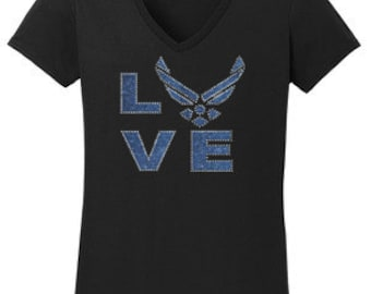 Airforce Love Vinyl Rhinestone T-Shirt Made to order