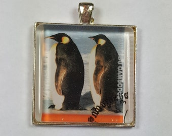 Penguins  Penguin Emperor Happy Feet Mumble Tuxedo Birds March of the Penguins Cambodia Postage Stamp Pendant or Key Ring