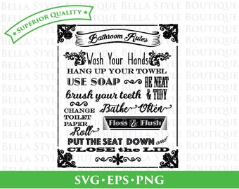 BATHROOM RULES svg png eps cut file