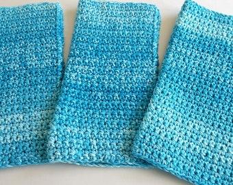 Crochet Wash Cloths Crochet Dish Cloths 100% Cotton Crochet Washrag Set of 3 Kitchen Dishcloths Facial Cloth Crocheted Dish Cloth