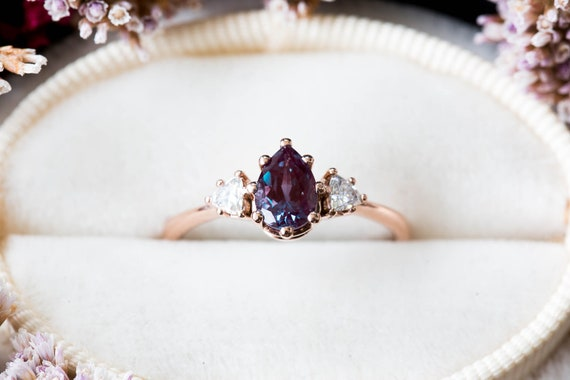 Alexandrite moissanite three stone engagement ring, pear engagement ring, three stone ring, rose gold alexandrite ring, trillion engagement