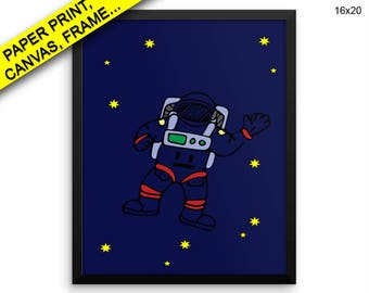 Astronaut Printed Poster Astronaut Framed Astronaut Nursery Art Astronaut Nursery Print Astronaut Canvas Astronaut space art Wall Art