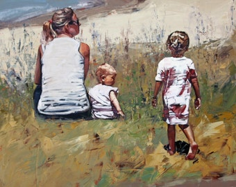 "8"" x 8.5"", 12"" x 13"", 16"" x 17"", 20"" x 21"" original art print, mother and daughter, beach art, palette knife, neutral wall art, Beachside IV"