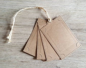 25 Stitched Embossed Luggage Tags / Blank Tags / Gift Tags / Thank you Tags / Price Tags / Favor Tags / Wedding Tags / Birthday Tags