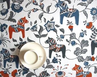 Tablecloth Dala Horses white orange blue grey Scandinavian Design , also napkins, table runner available, great GIFT
