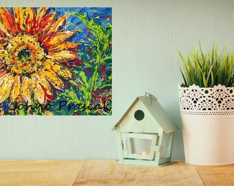 Sunflower art, Floral wall art, abstract floral wall art, modern flowers, summer ,Pittsburgh artist, by Johno Prascak, Johnos Art Studio