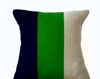 Modern Pillow Color Block Contemporary Pillow Cover in Burlap, Modern Decor Striped Throw Pillow Cover All Size Navy Blue Green Ivory Pillow