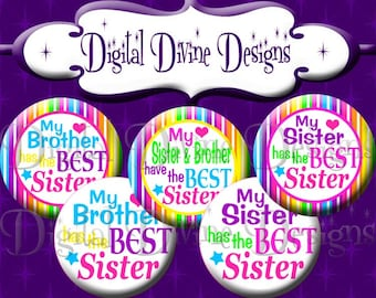 Best Sister - 1 inch round digital graphics - Instant Download