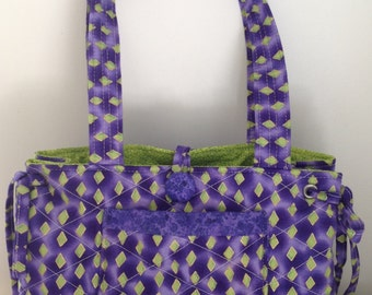 Small quilted tote bag, Top handle bag, Shoulder bag, Small purse, serendipity print,