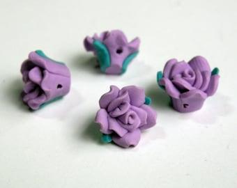 10 Purple Lilac Rose flower polymer clay beads 12mm PFM011Y