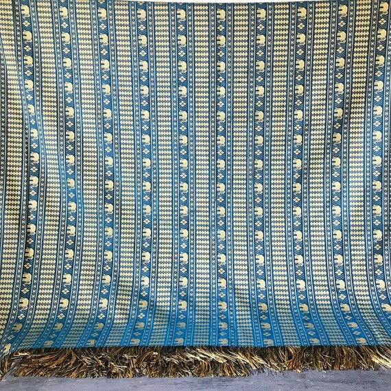 vintage woven bedspread - elephant textile with fringe - table cloth - curtain - boho wall hanging - global ethnic - teal gold