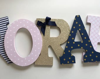 Pink Gold and Navy Girls Nursery Letters