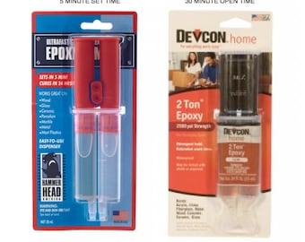 DEVCON EPOXY 5 minute or 30 minute - 2 Ton 2 Part EPOXY, metal / wood /glass / ceramics/ china /resin/ jewelry - Adhesive / glue