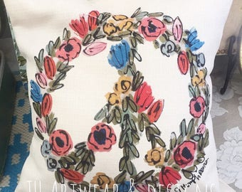 Floral Peace Sign Pillow