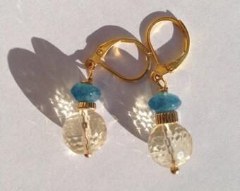 Citrine Angelite Gold Earrings, Lilyb444, etsy jewelry,