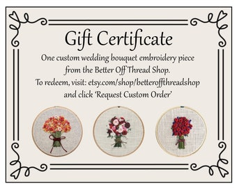 """Gift Certificate - One Custom 5"""" Hand-embroidered Wedding Bouquet"""