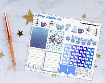 Winter Weekly Kit Planner Stickers, Weekly Kit Stickers, Winter Stickers, Vinyl Stickers