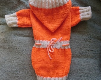 Warm orange white sweater for Cat, cat clothes, warm hand made knitted sweater, cat pullover