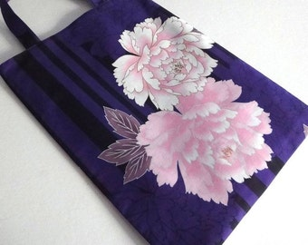 Kimono tote bag Japanese Kimono Printed Pattern Flat tote handbag purse camellia purple black