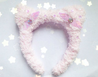 Kawaii Angelic Fluffy Cat Ears Headband, Fairy Kei, Pastel Kei, Sweet Lolita, Harajuku etc Inspired