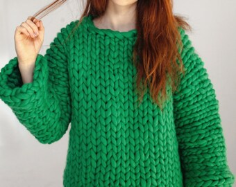 Green chunky sweater Hand knitted women's sweater Merino wool sweater Super chunky knit sweater Women's knitwear Ready to ship Size small