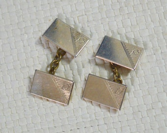 Vintage Chain Cuff Links - Small Soft Gold Tone Metal Oblong Shapes Double Ended