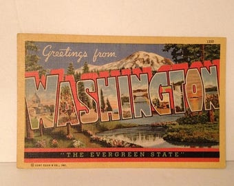 ON SALE Greetings From Washington The Evergreen State Old Vintage 1950's Souvenir Postcard 1952 Mailed Stamped Postmarked