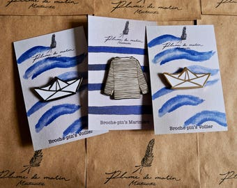 "Set of 3 badges - ""Vacances à la mer"" Collection"